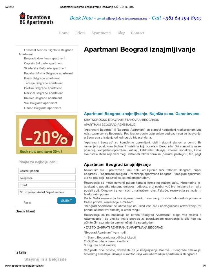 Izdavanje apartmana na dan Beograd