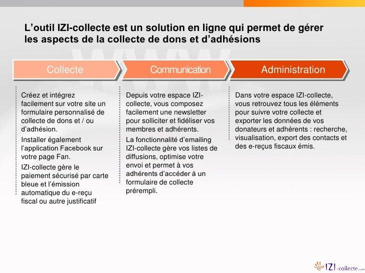 L'outil IZI-collecte est un solution en ligne qui permet de gérer les aspects de la collecte de dons et d'adhésions       ...