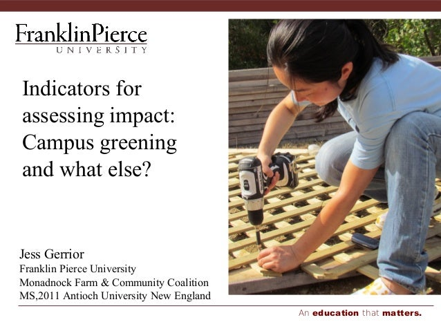 An education that matters. Indicators for assessing impact: Campus greening and what else? Jess Gerrior Franklin Pierce Un...