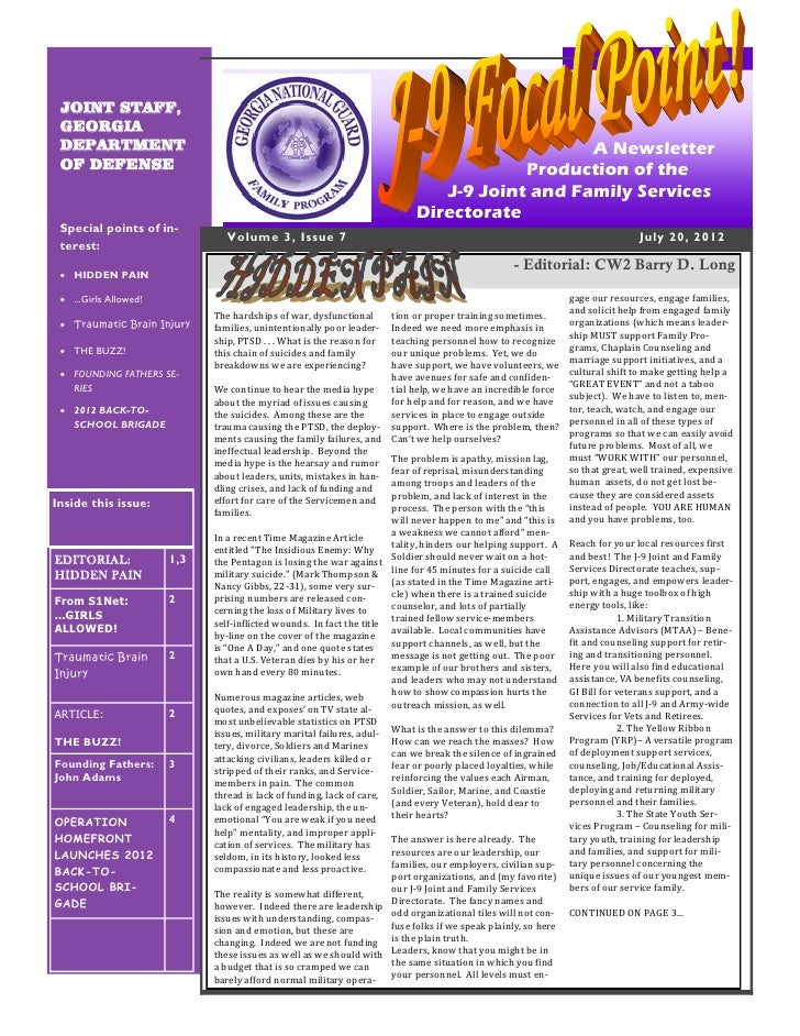 7th issue of the J-9 FOCAL POINT! Newsletter