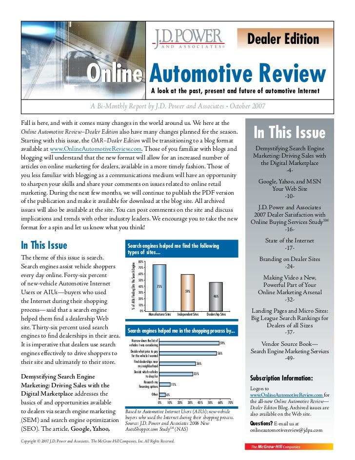 J  D  Power  Associates  Online Automotive Review  Car  Dealers