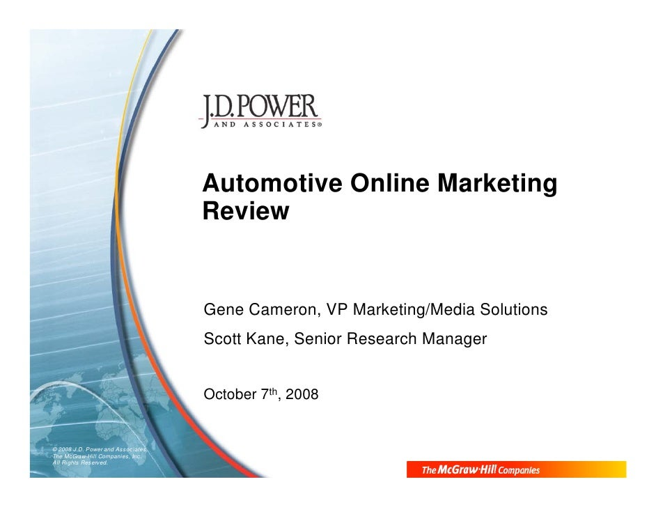 J D  Power And Associates Online Automotive Marketing Review