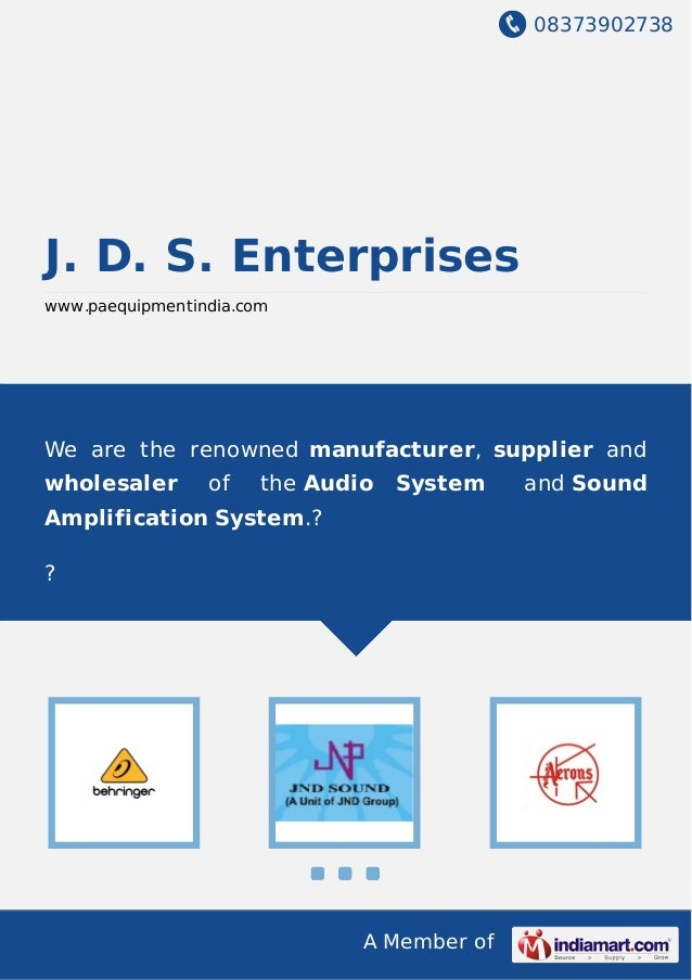 08373902738 A Member of J. D. S. Enterprises www.paequipmentindia.com We are the renowned manufacturer, supplier and whole...