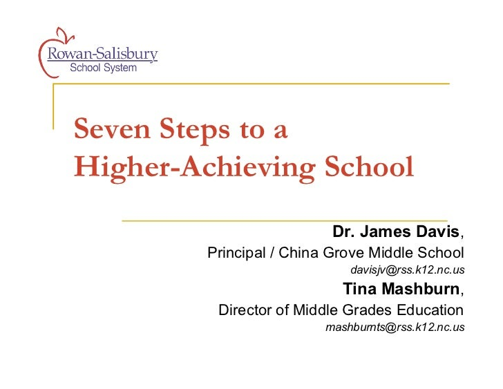 Seven Steps to aHigher-Achieving School                           Dr. James Davis,         Principal / China Grove Middle ...