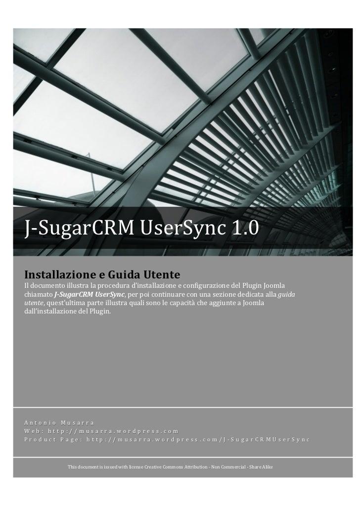 J-‐SugarCRM UserSync 1.0 Installazione...