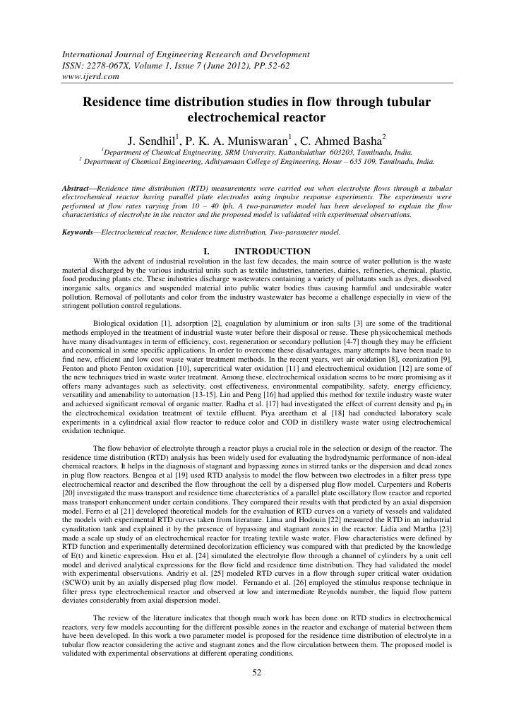Residence time distribution studies in flow through tubular electrochemical reactor