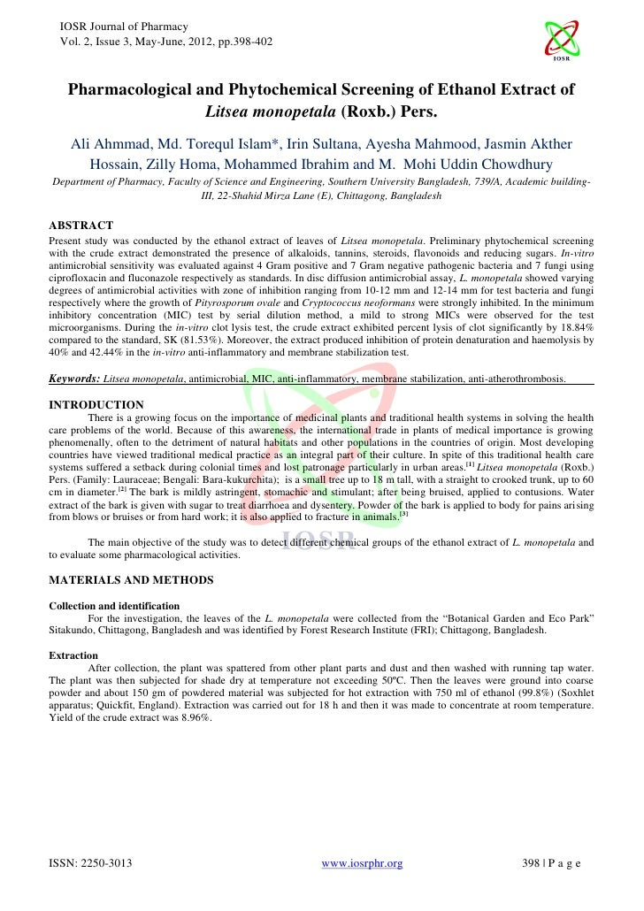 IOSR Journal of Pharmacy  Vol. 2, Issue 3, May-June, 2012, pp.398-402    Pharmacological and Phytochemical Screening of Et...