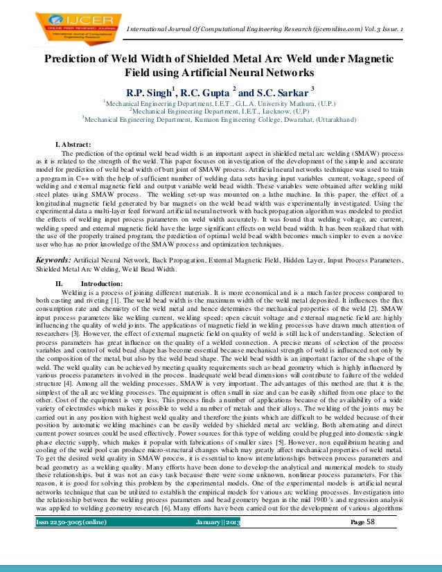 I nternational Journal Of Computational Engineering Research (ijceronline.com) Vol. 3 Issue. 1   Prediction of Weld Width ...