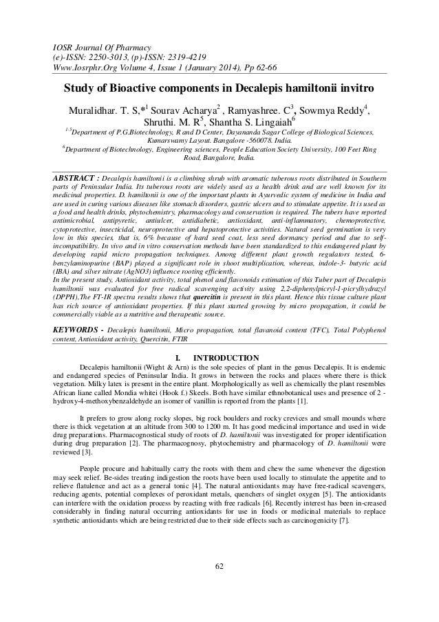 IOSR Journal Of Pharmacy (e)-ISSN: 2250-3013, (p)-ISSN: 2319-4219 Www.Iosrphr.Org Volume 4, Issue 1 (January 2014), Pp 62-...