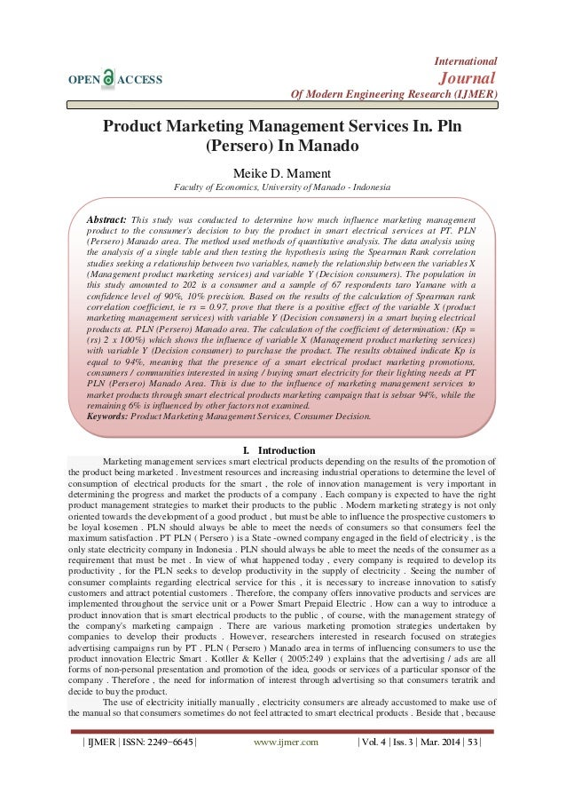 Product Marketing Management Services In. Pln (Persero) In Manado