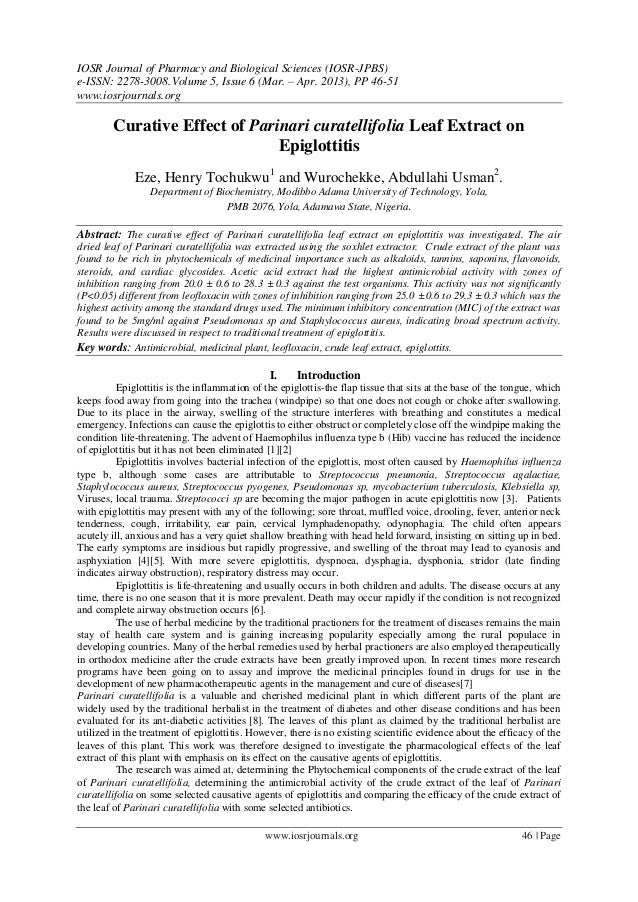 IOSR Journal of Pharmacy and Biological Sciences (IOSR-JPBS)e-ISSN: 2278-3008.Volume 5, Issue 6 (Mar. – Apr. 2013), PP 46-...