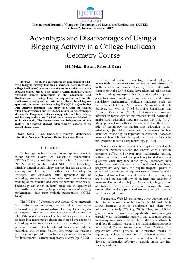 Advantages and Disadvantages of Using a Blogging Activity in a College Euclidean Geometry Course