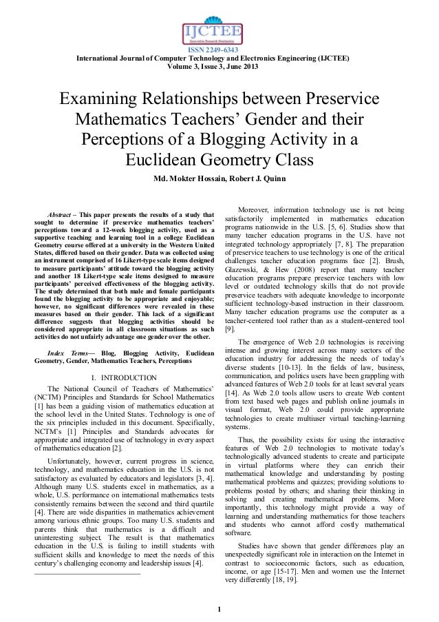 Examining Relationships between U.S. Preservice Mathematics Teachers' Gender and their Perceptions of a Blogging Activity in a Euclidean Geometry Class