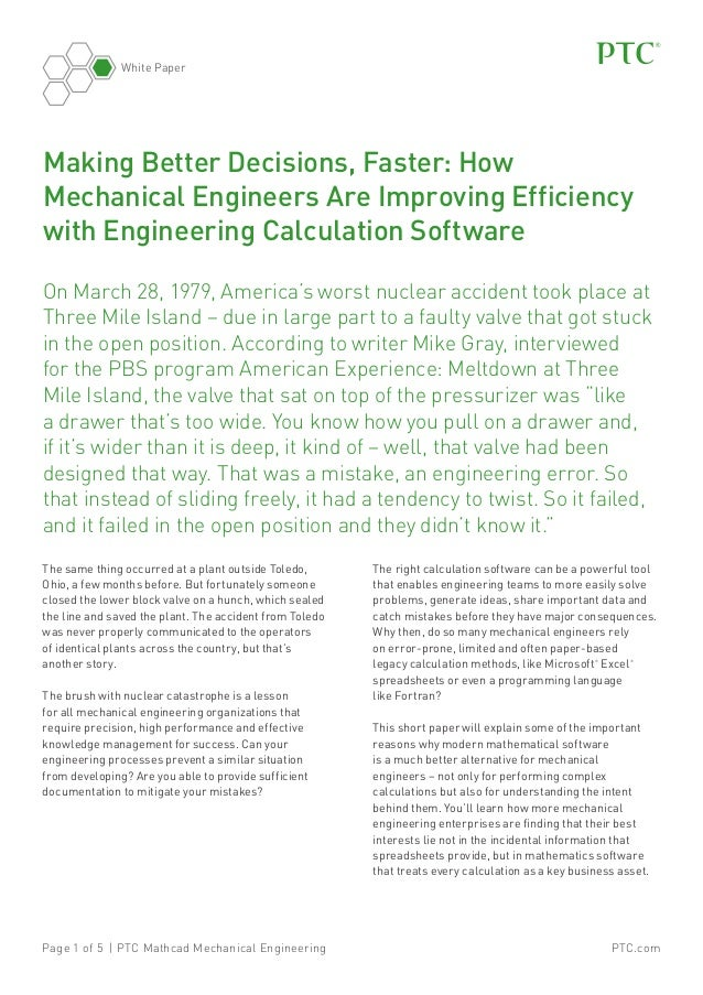 White Paper  Making Better Decisions, Faster: How Mechanical Engineers Are Improving Efficiency with Engineering Calculati...