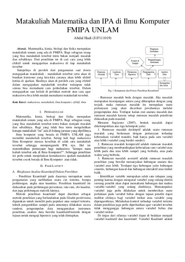 Matakuliah Matematika dan IPA di Ilmu Komputer FMIPA UNLAM Abdul Hadi (J1F111019) Abstrak. Matematika, kimia, biologi dan ...