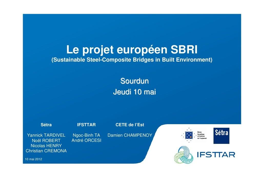 Les Plénières Journées Techniques Ouvrages d'Art 2012                          Le projet européen SBRI                 (Su...