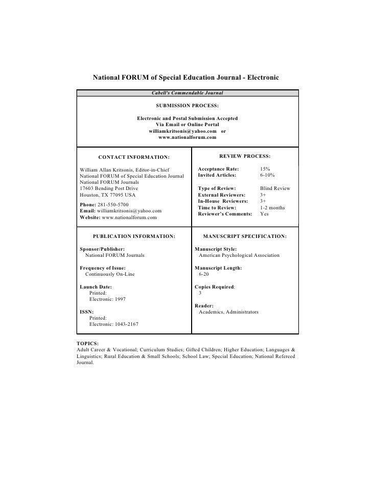 National FORUM of Special Education Journal - Electronic                                  Cabell's Commendable Journal    ...