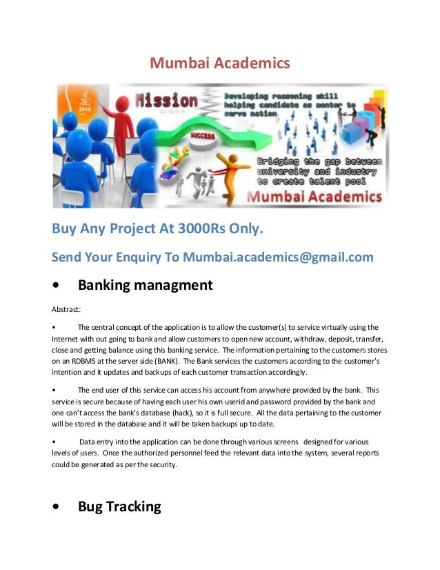 Mumbai Academics  Buy Any Project At 3000Rs Only. Send Your Enquiry To Mumbai.academics@gmail.com  •  Banking managment  A...