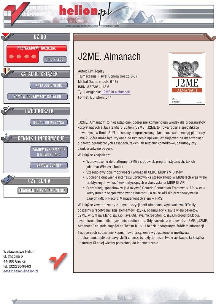 IDZ DO          PRZYK£ADOWY ROZDZIA£                             SPIS TRE CI   J2ME. Almanach                             ...