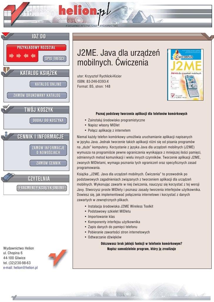 J2ME. Java dla urządzeń mobilnych. Ćwiczenia