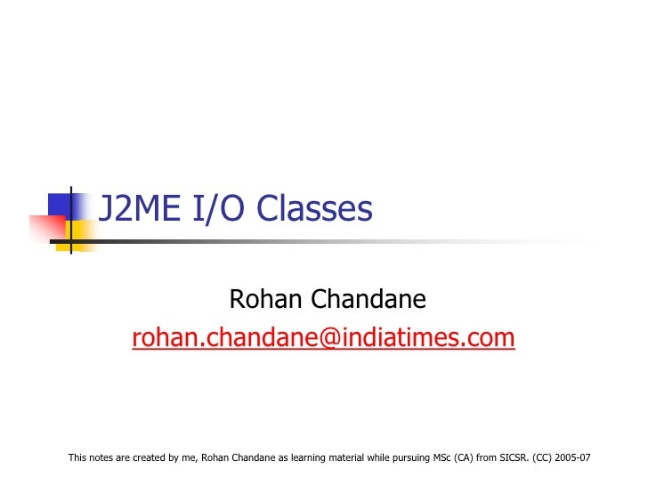 J2ME IO Classes