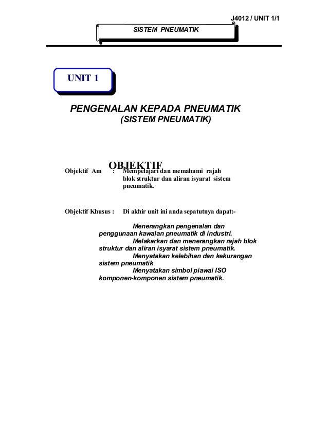 J4012 / UNIT 1/1 SISTEM PNEUMATIK  UNIT 1 PENGENALAN KEPADA PNEUMATIK (SISTEM PNEUMATIK)  Objektif Am  OBJEKTIF memahami :...