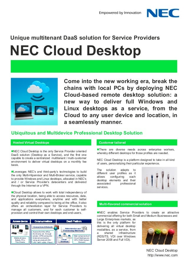 NEC Cloud Center of CompetenceUnique multitenant DaaS solution for Service ProvidersNEC Cloud Desktop                     ...