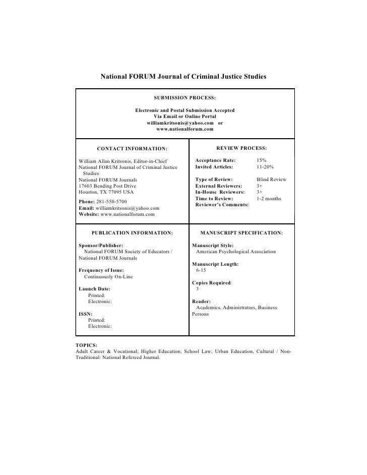 National FORUM Journal of Criminal Justice Studies                                   SUBMISSION PROCESS:                  ...