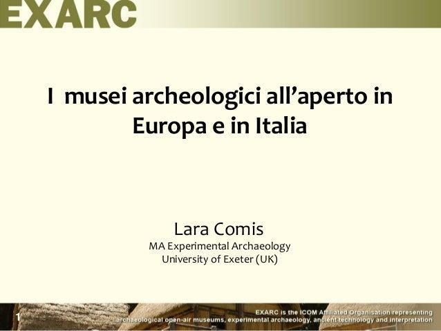 I musei archeologici all'aperto in Europa e in Italia Lara Comis MA Experimental Archaeology University of Exeter (UK) 1