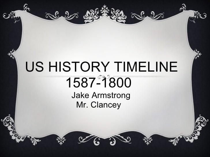 US HISTORY TIMELINE  1587-1800   Jake Armstrong ...
