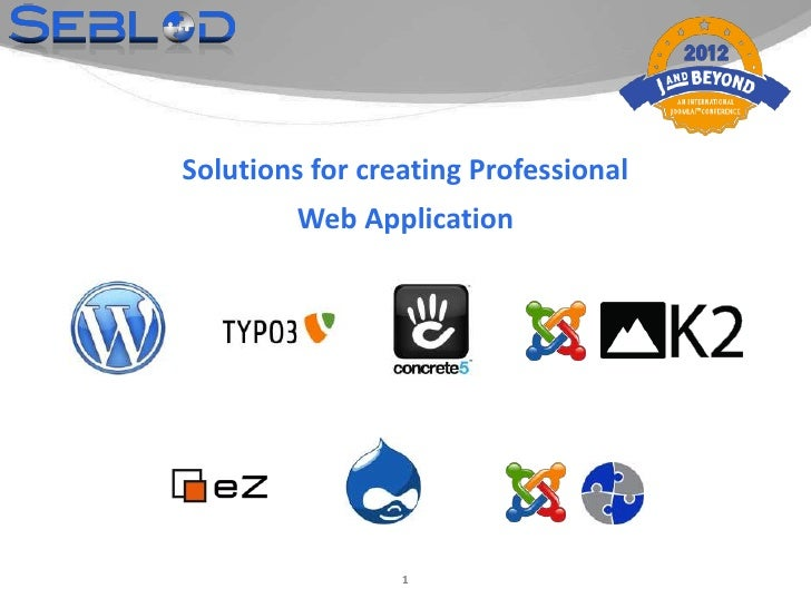 Solutions for creating Professional         Web Application                 1