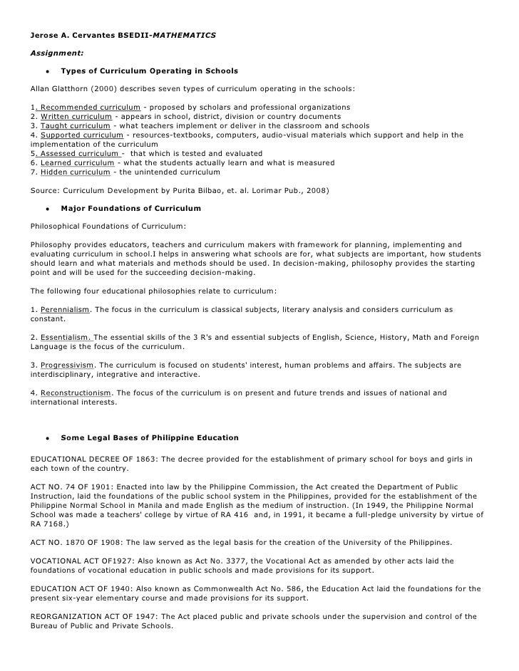Jerose A. Cervantes BSEDII-MATHEMATICSAssignment:        Types of Curriculum Operating in SchoolsAllan Glatthorn (2000) de...