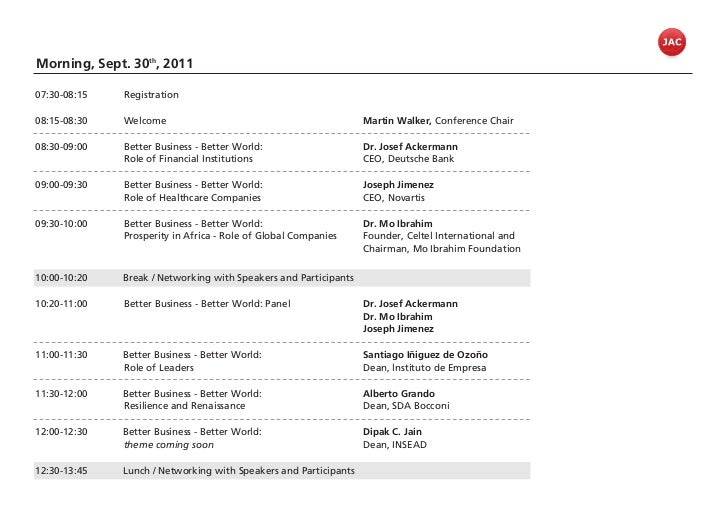 Morning, Sept. 30th, 201107:30-08:15   Registration08:15-08:30   Welcome                                             Marti...