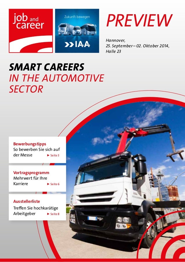 Preview SMART CAREERS in The automotive sector Hannover, 25. September–02. Oktober 2014, Halle 23 Zukunft bewegen Ausste...