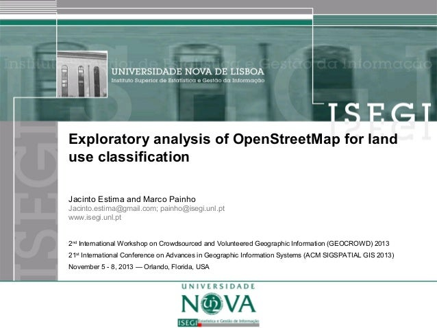 Exploratory analysis of OpenStreetMap for land use classification