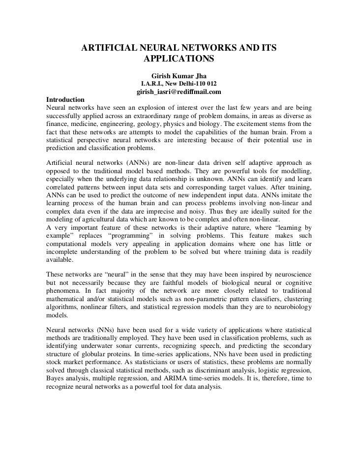 ARTIFICIAL NEURAL NETWORKS AND ITS                        APPLICATIONS                                      Girish Kumar J...
