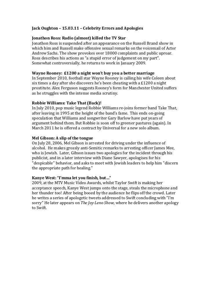 Jack Oughton – 15.03.11 – Celebrity Errors and Apologies  Jonathon Ross: Radio (almost) killed...