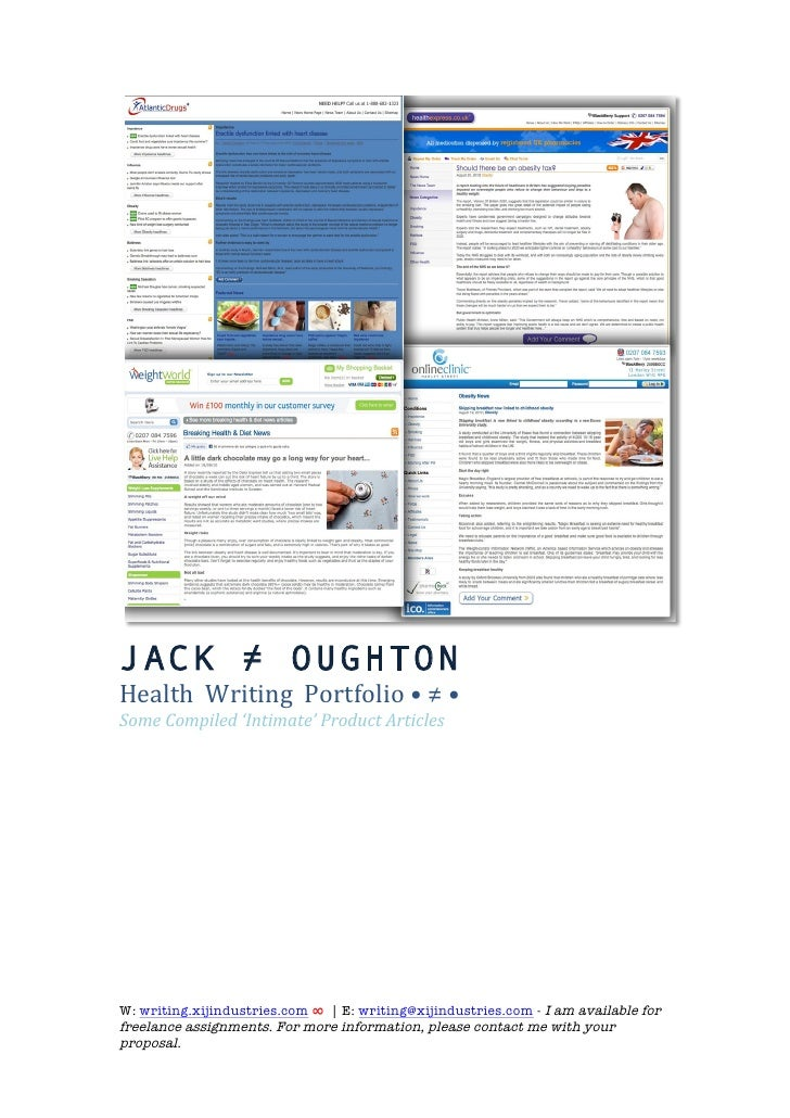 JACK ≠ OUGHTON Health	   	   Writing	   	   Portfolio	   •	   ≠	   •	    Some	   Compiled	   'Intimate'	   Product	   A...