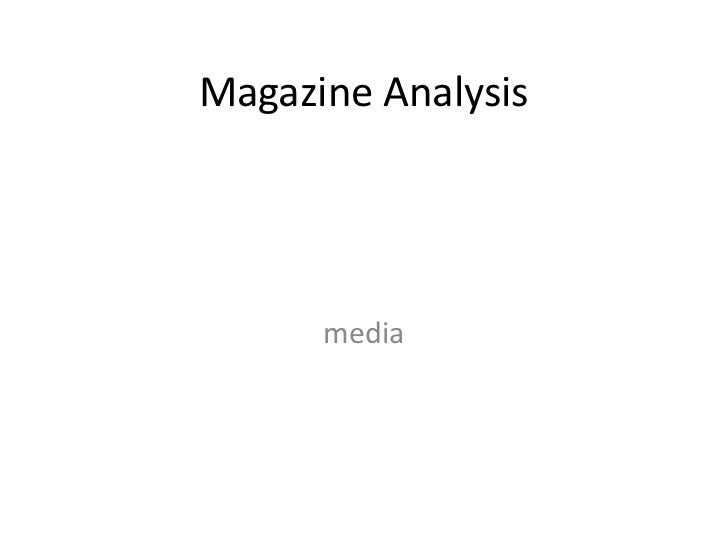 Magazine Analysis      media