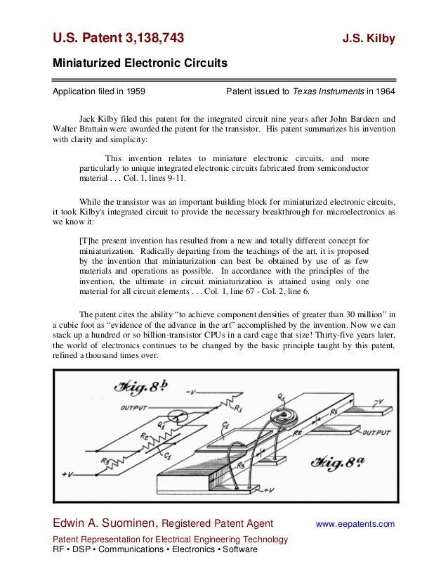 U.S. Patent 3,138,743                                                              J.S. KilbyMiniaturized Electronic Circu...