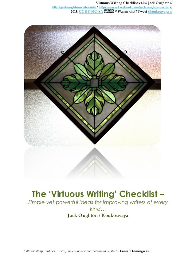 Jack oughton   'virtuous writing checklist' v1.0