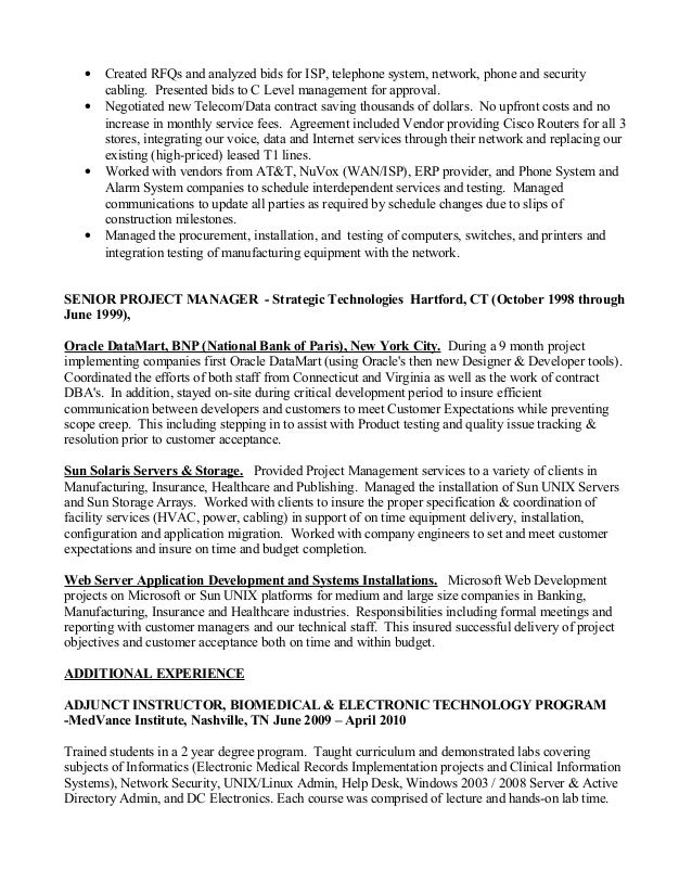 project manager pmp resume