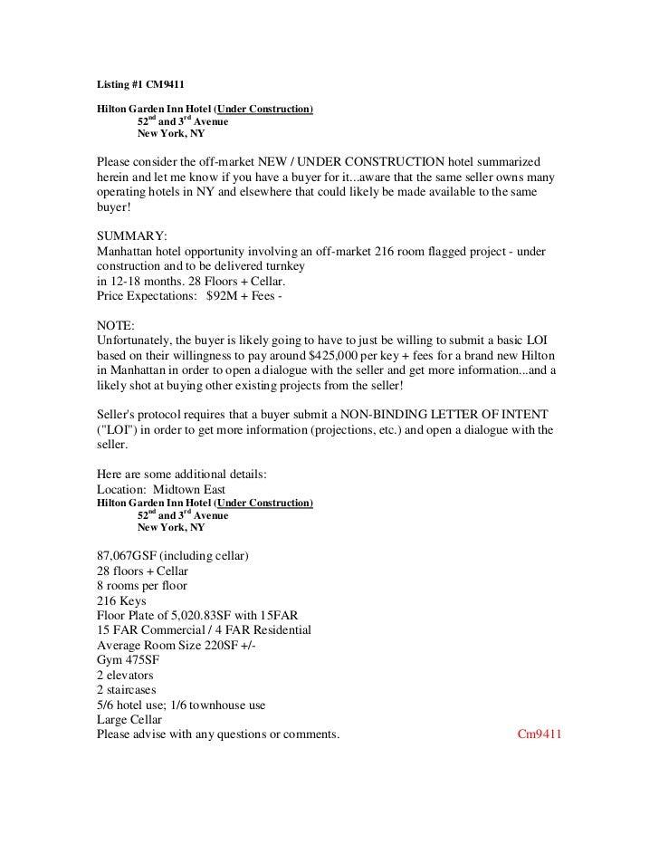 Listing #1 CM9411Hilton Garden Inn Hotel (Under Construction)        52nd and 3rd Avenue        New York, NYPlease conside...