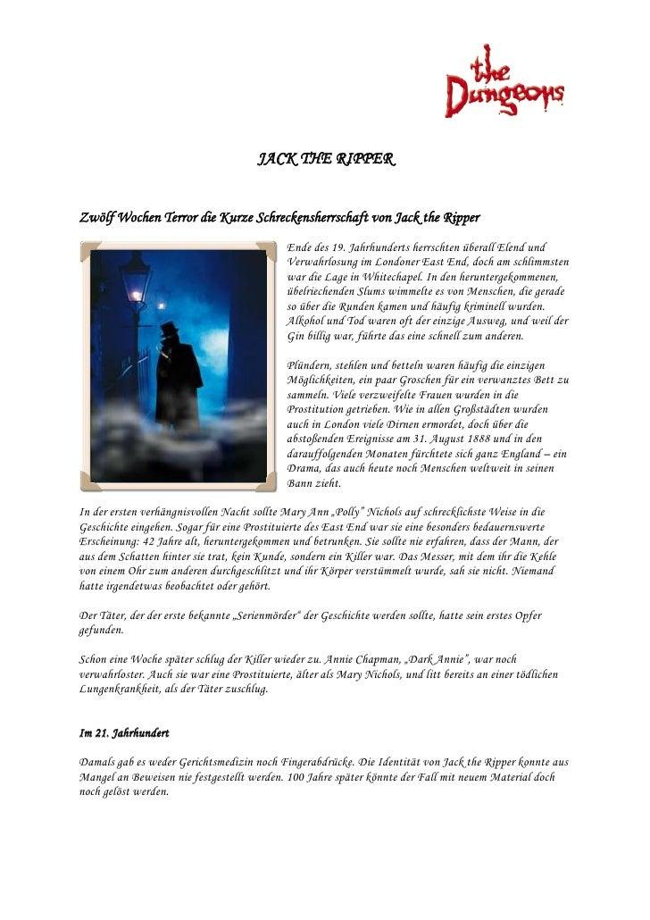 JACK THE RIPPER   Zwölf Wochen Terror die Kurze Schreckensherrschaft von Jack the Ripper                                  ...