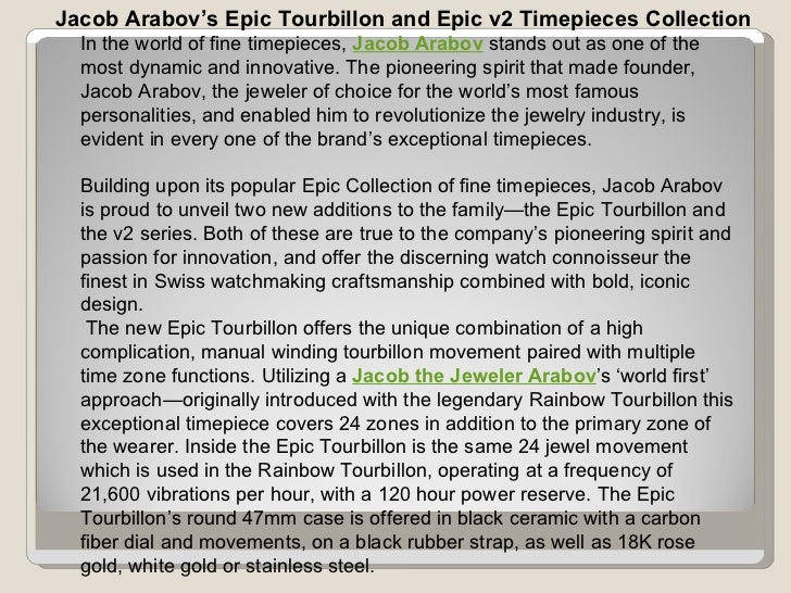Jacob Arabov's Epic Tourbillon and Epic v2 Timepieces Collection In the world of fine timepieces,  Jacob Arabov  stands ou...