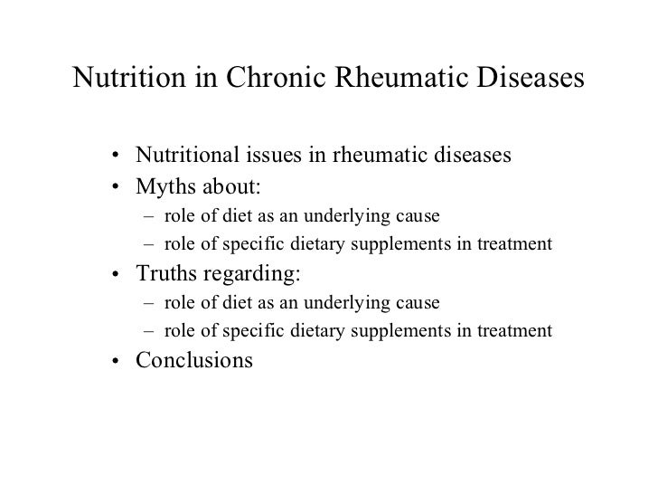 Rheumatic Diseases: Diets and Supplements