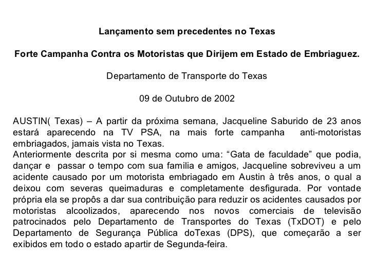 Lançamento sem precedentes no Texas Forte Campanha Contra os Motoristas que Dirijem em Estado de Embriaguez. Departamento ...