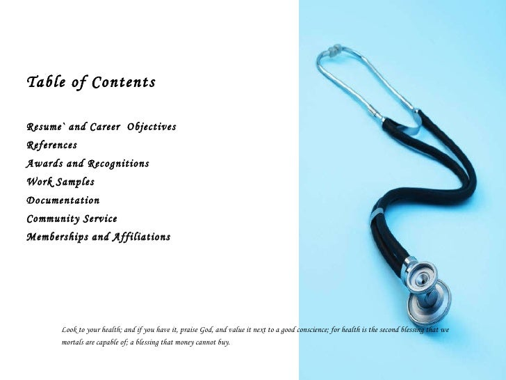 Health occupational professional portfolio for Professional portfolio nursing template