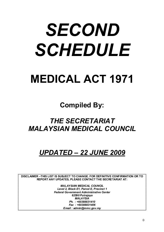 SECOND        SCHEDULE     MEDICAL ACT 1971                        Compiled By:        THE SECRETARIAT    MALAYSIAN MEDICA...