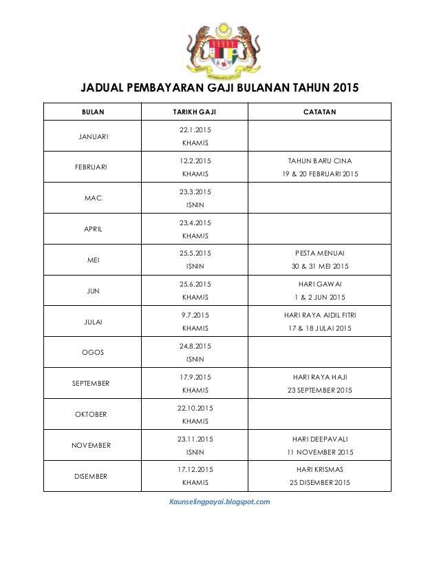 Jadual Pembayaran Gaji 2015